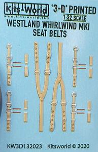 KW3D132023 Kits World Decals 1:32 Westland Whirlwind F Mk.I 3D Seat Belt decals