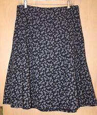 Christopher & Banks Skirt~Sz 8~Black with White print~Lined~Full~Cotton
