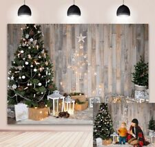 Winter Christmas Backdrop Wooden Wall Christmas Tree Party Decor Photo Backdrop