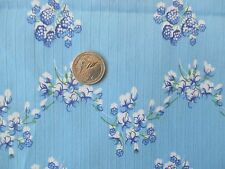 COUNTRY GIRL Vintage WHITE BLUE FLOWERS On BLUE 1970's COTTON  Fabric-shy 4 yd