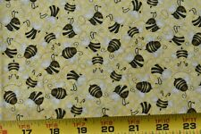 """21"""" Long, Brown & Cream Bees on Yellow Quilt Fabric/Henry Glass/Comiskey N5936"""