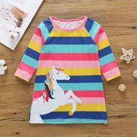 AU Baby Kids Girls Infant Kids Horse Animal Cartoon Print Striped Casual Dresses