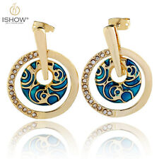Fashion Gold Plated Enamel Crystal Circle Stud Ear Earrings For Women