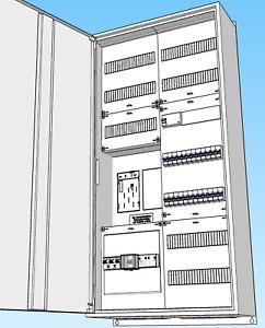 Zählerschrank 1-Fam-Haus,eHZ,komplett,SLS3x50A,FI-Automaten,APZ,Überspannung