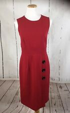 Talbots Red womens 8 Stretch Dress Zip Back Sleeveless Button Detail on Bottom
