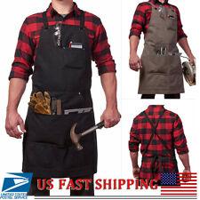 Waxed Canvas Tools Apron 3 Pocket Heavy Duty Carpenter Blacksmith Grill Workshop