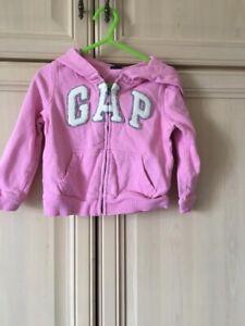 Gap Girl's Hooded Pink Zip Top 2 Years