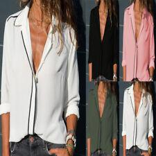 PD: Damen V-Ausschnitt Business Bluse Shirt Oberteile Chiffon mit knopf Tops Neu
