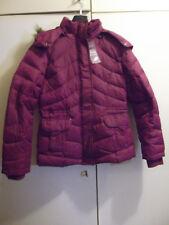 ZERO Damen Winterdaunenjacke, Größe 34, Farbe: dunkelpink mit abnehmbarer Kapuze