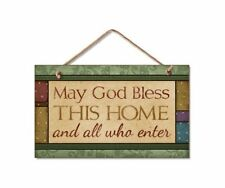 "MAY GOD BLESS THIS HOME AND ALL WHO ENTER Wood Hanging Sign 5.75"" x 9.5"""