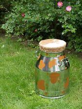MySika Sitzkanne Milchkanne Hocker mit echtem Kuhfell hellbraun 54 cm  & 30 L