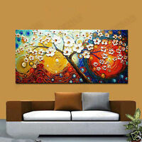 CHOP234 large decor art hand-painted abstract flower tree oil painting on canvas