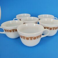 Mid Century Vintage Pyrex White Milk Glass Butterfly Gold Coffee Tea Cup Set 6