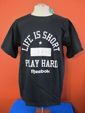 Vintage Rare Reebok T-Shirt Life is Short Play Hard L Herman's Cotton Black