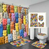 4PCS Bunt Katze Badezimmer Duschvorhang Wasserfest Toilette Matte Teppich Set