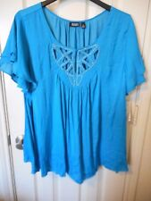 Women's a.n.a. Embellished Short Sleeve Blouse Meridian Blue Size 1X NEW