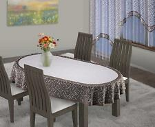 """Oval Tablecloth Thick Lace Beige Brown Premium Quality 51"""" x 71"""" 130 x 180cm"""