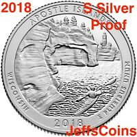 2018 S Apostle Island 90% Silver Proof Park Quarter Wisconsin ATB Best U.S.Mint