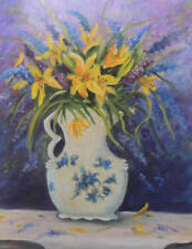 Vase with yellow lillies and purple flowers 8 x 10 print of original painting