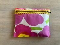 "Finland Marimekko Handmade Black Mini Unikko OIL CLOTH 7x6/"" coin purse wallet"