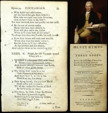 RARE! 1787 HYMN 'leaf' A FOUNTAIN FILLED WITH BLOOD, by WILLIAM COWPER, To Frame