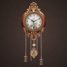 New Antique Wood Wall Clock European Classic Metal Artwork Non-ticking Silent