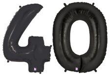 "40 Black Number MEGALOON 40"" Jumbo 2 Metallic Balloons Helium Shapes"