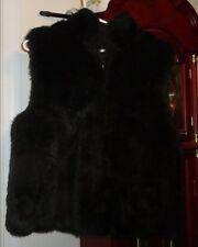 M Ladies Womens Cocoa New York NY Vest Faux Fur Reversible Black Zip Vinyl