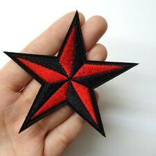 Black & Red Nautical Star Patch Iron-On/Sew-On Embroidered 3.5