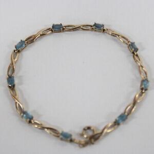 9ct Gold Chain Bracelet with Blue Gemstones #544
