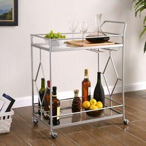 Rolling Mini Bar Silver Tone Large Glass Shelves 2 Tier Liqueur Serving Cart NEW