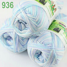 3 balls×50g Super Soft Natural Smooth Bamboo Cotton Yarn Knitting White blue 936