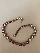 Vintage Pink Aurora Borealis Pronged Rhinestone Choker Necklace