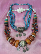 Vintage Berber resin amber color Necklace and Blue Stone Necklace Ethnic Tribal