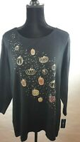Karen Scott Plus-Size Top Halloween Embellished Pumpkin T-Shirt WS-196
