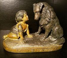 Bronze Sculpture Marble Base Can't You Talk Statue