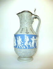 XXL Large Villeroy & Boch Mettlach Wine Jug Mug Um 1900 Paste On Paste B-55