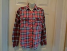 Abercrombie and Fitch Pink Blue White Plaid Button Up Shirt Size XS EUC