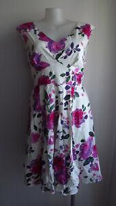 Cream/Pink/Purple Floral Sleeveless Dress .. DREAM DIVA .. Size 20  #J0621  BNWT