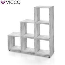 VICCO Treppenregal 6 Fächer Grau Beton - Raumteiler Stufe Bücherregal Aktenregal