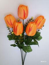 "2x 16"" Orange TULIP Bush, Artificial Silk Flower, Wedding /T07"