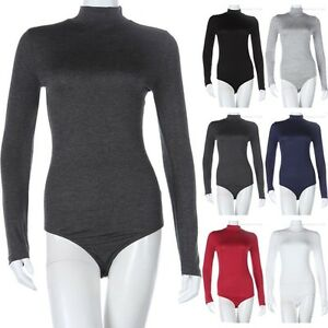 Long Sleeve Solid MOCK Neck Bodysuit with Snap Button Closure Bottom Rayon S M L