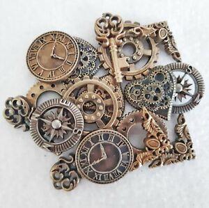 Plastic Button Charm - Steampunk Antique Gold Brass Copper - Clock Key Cog Heart