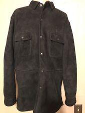 Polo Ralph Lauren Black Suede Leather Shearling Jacket Shirt Size Medium M