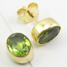 Gold Plated Genuine Oval PERIDOT Earrings 925 Pure Silver New Fashion Jewelry