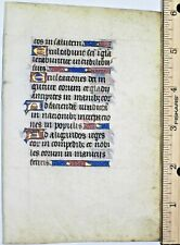 Illuminated medieval Book of Hours lf.9 gold initials and line fillers,ca.1450