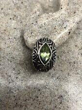 Sterling Sivler Genuine Stone Stud Vintage Green Peridot Earrings 925