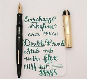 Vintage Eversharp Skyline Fountain Pen, Black &Gold FLEX 1.3mm STUB Nib RESTORED