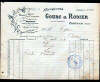 """CASTRES (81) BONNETERIE LINGERIE CONFECTION / MODE """"GOURC & RODIER"""" en 1909"""