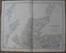 1861Antique A.K.Johnston Map - Northern Scotland - Shetland Islands- H/C Outline